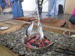 炭火で焼いているニシン(留萌)