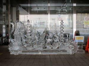 深川市立病院前氷像の写真